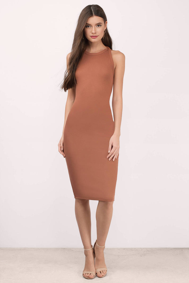 Honesty Rust Jersey Knit Midi Dress