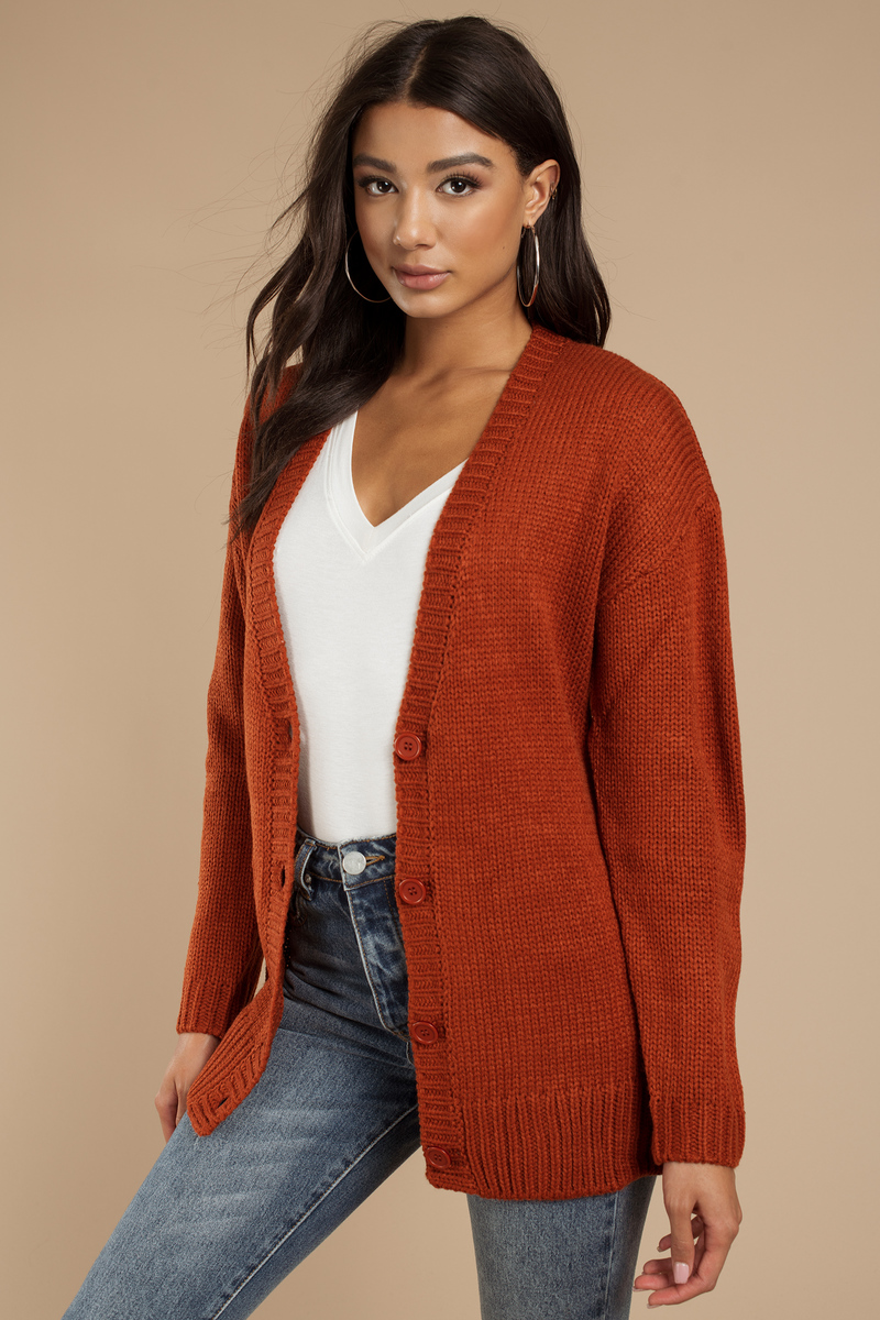 Trendy Rust Cardigan - Button Up Cardigan - Rust Cardigan - $17 ...