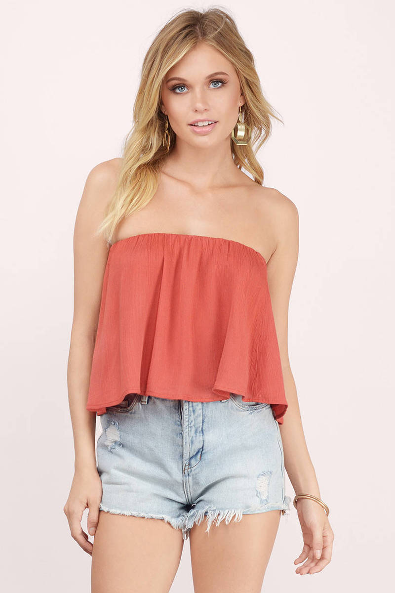 7782809b599 Cute Rust Crop Top - Off Shoulder Top - Red Top - Rust Crop Top -  9 ...