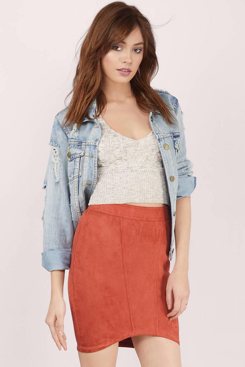 Little Secret Rust Suede Skirt