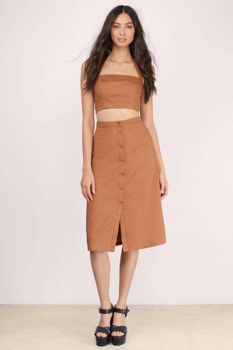Trendy Rust Skirt - Red Skirt - High Waisted Skirt - Rust Skirt ...