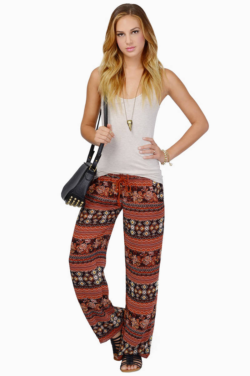 Midnight Memories Rust Aztec Print Pants