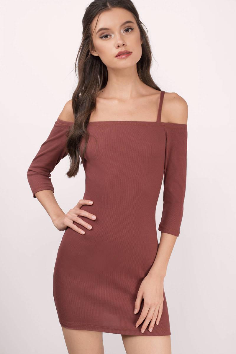 3b91fd92e3 Rust Day Dress - Off The Shoulder Dress - Day Dress - $10 | Tobi US