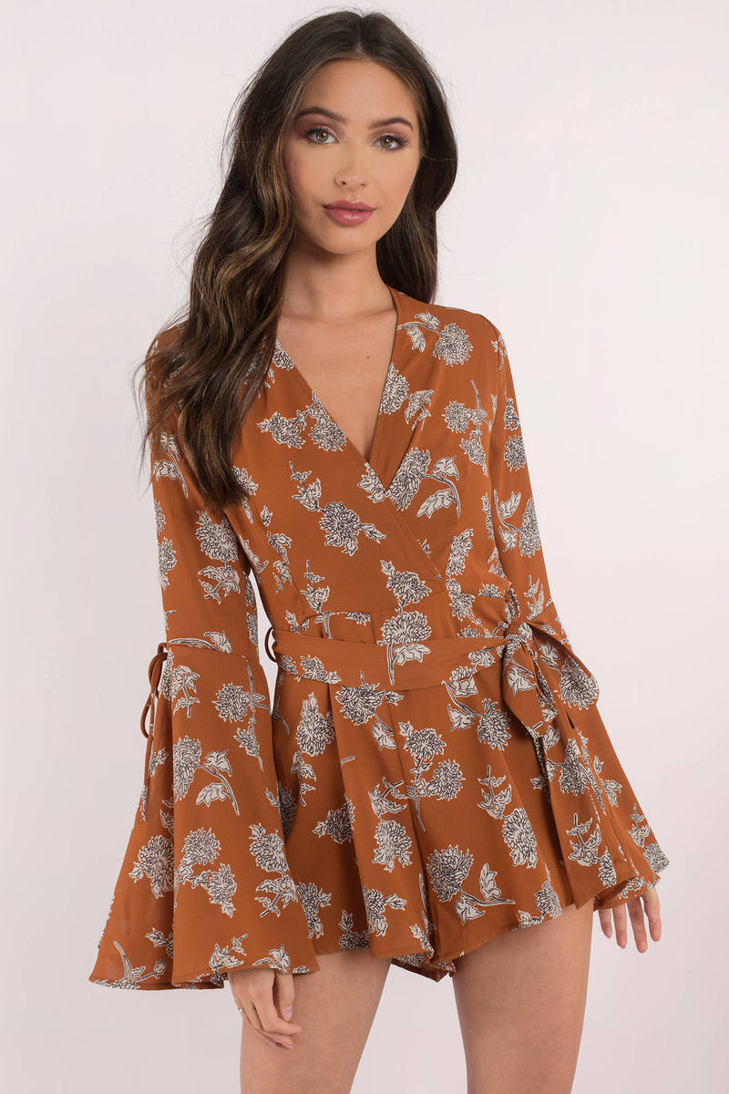 770a69f4787 Lovely Orange Romper - Belted Romper - Orange Floral Print Romper ...