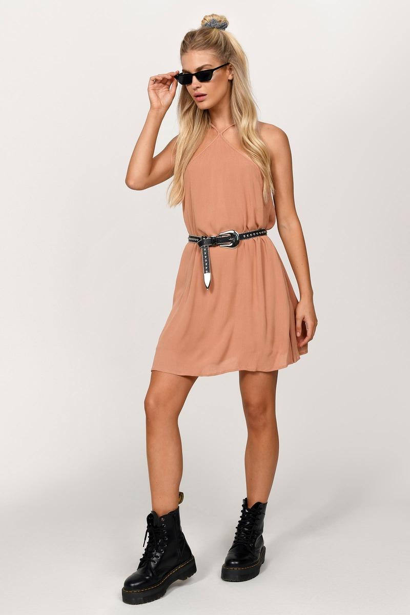 71a234dee80 Chic Rust Dress - Orange Dress - Peach Swing Dress - Shift Dress ...