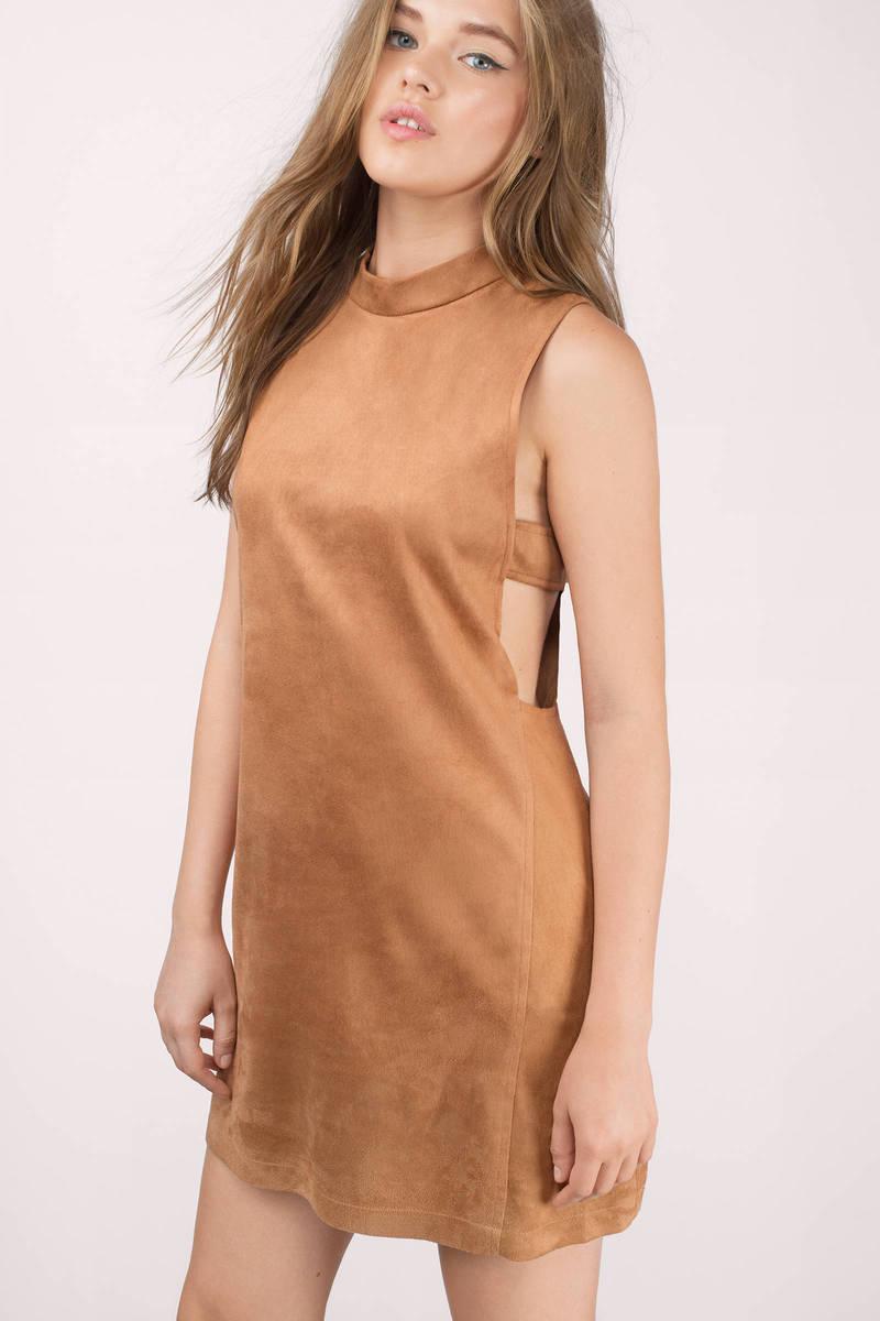 1a198417c03 Brown Dress - Mock Neck Dress - Cutout Shift Dress - Suede Dress ...