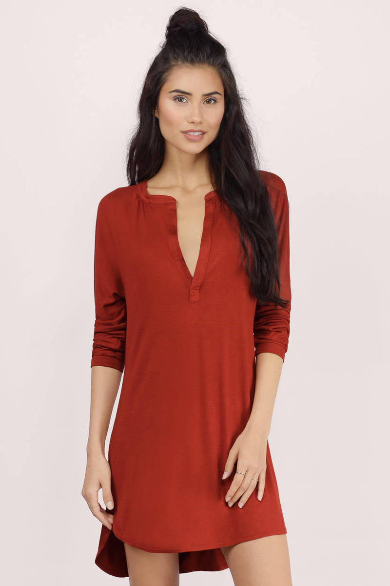 Pretty taupe day dress v neck dress brown dress day for What to wear with a red shirt