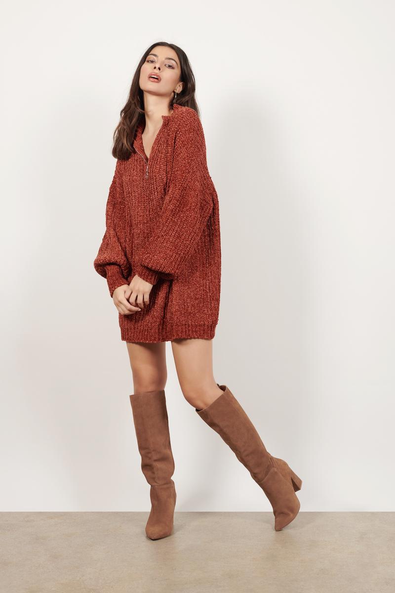 b7f681da7ae Rust Orange Sweater Dress - Chenille Sweater - Rust Orange Slouchy ...