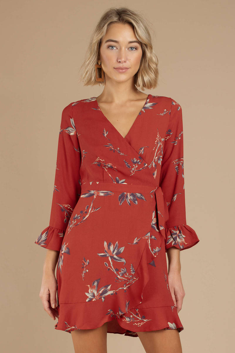 dc5e85a325 Red Wrap Dress - Floral Ruffle Dress - Red Printed Dress -  34