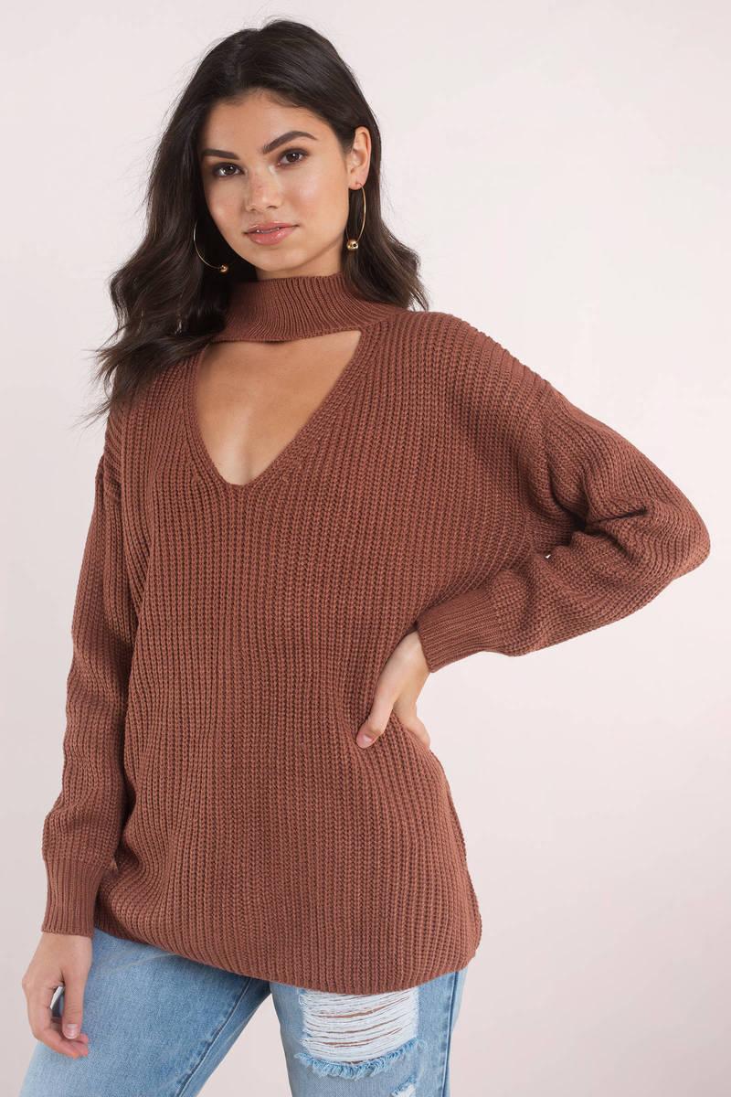 45158ad9559d Cute Orange Sweater - Oversized Choker Sweater - Orange Sweater - C ...