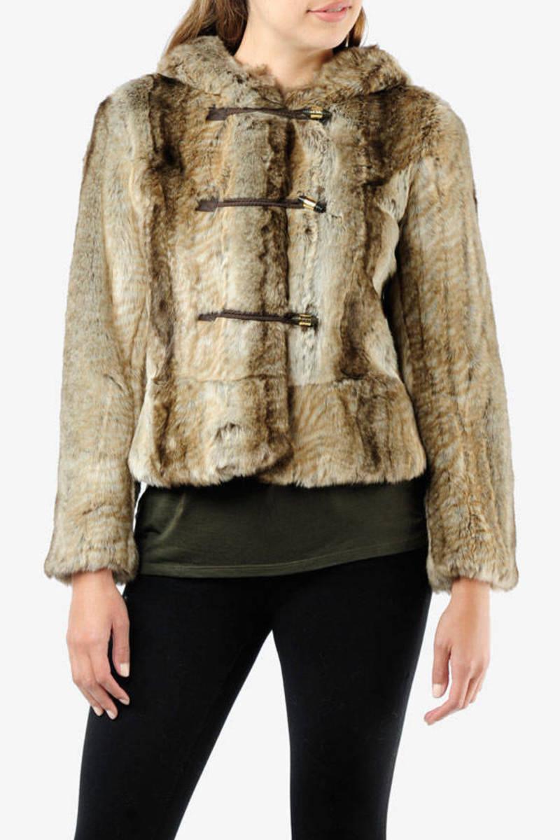 b8db3338ebd3 Brown Juicy Couture Jacket - Faux Fur Jacket - Brown Hooded Jacket ...
