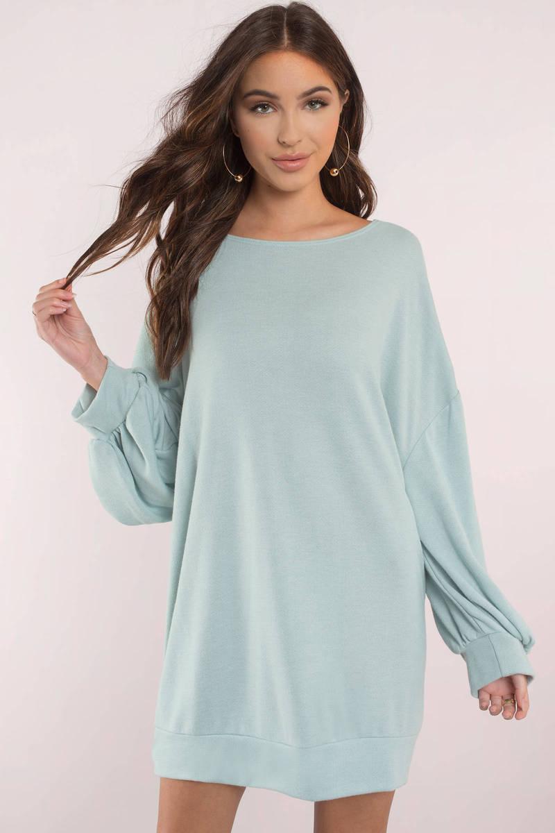 96e87a169e Cute Sage Dress - Long Sleeve - Sage Sweatshirt Dress - $54 | Tobi US