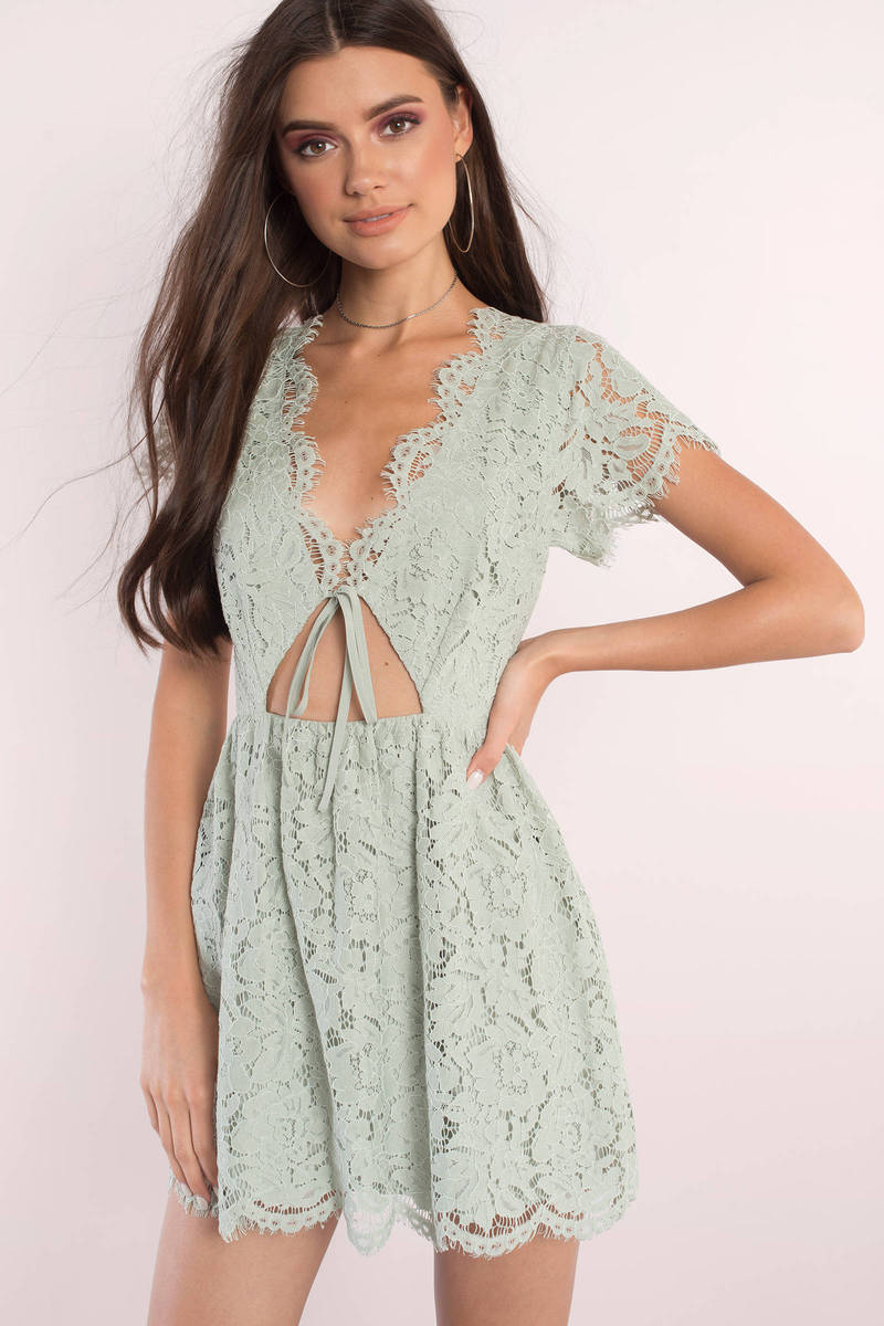 a5c6314bb9 Cute Sage Skater Dress - Front Tie Dress - Skater Dress -  29