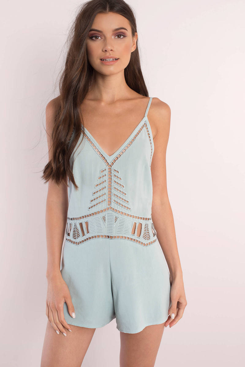 One More Time Sage Romper