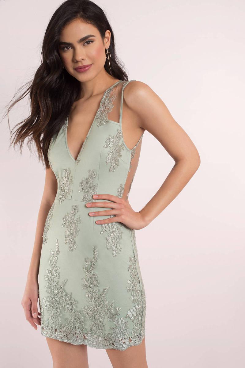 Lace deep v dress
