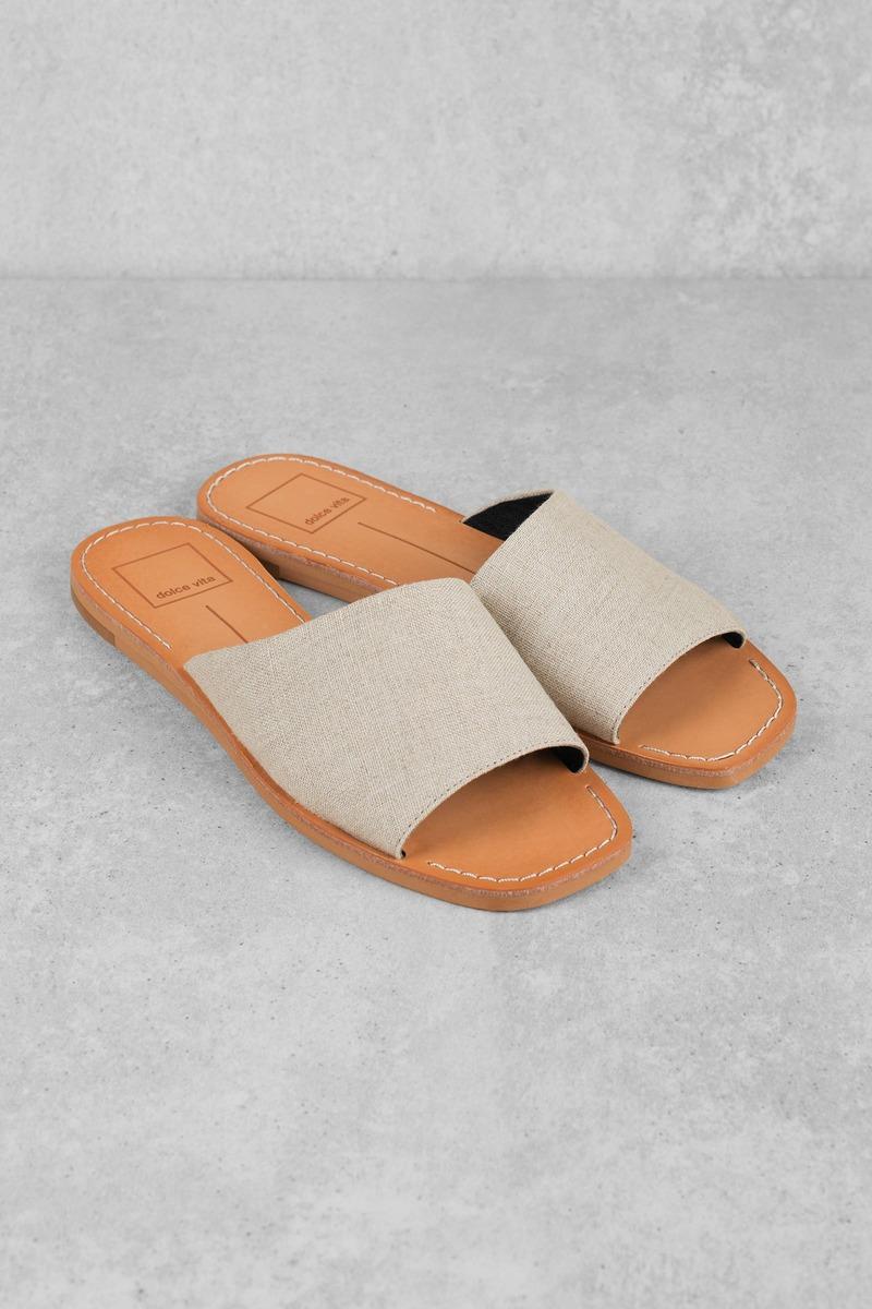 39841db74 Beige Sandals - 70's Slip On Sandals - Beige Linen Sandals - $42 ...