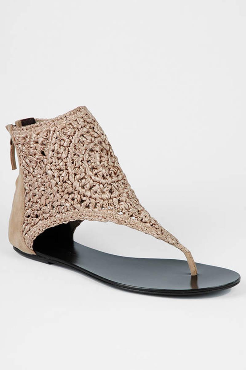 008b6cde4898 Tan Elizabeth And James Sandals - Flat Sandals - Tan Crochet Sandals ...