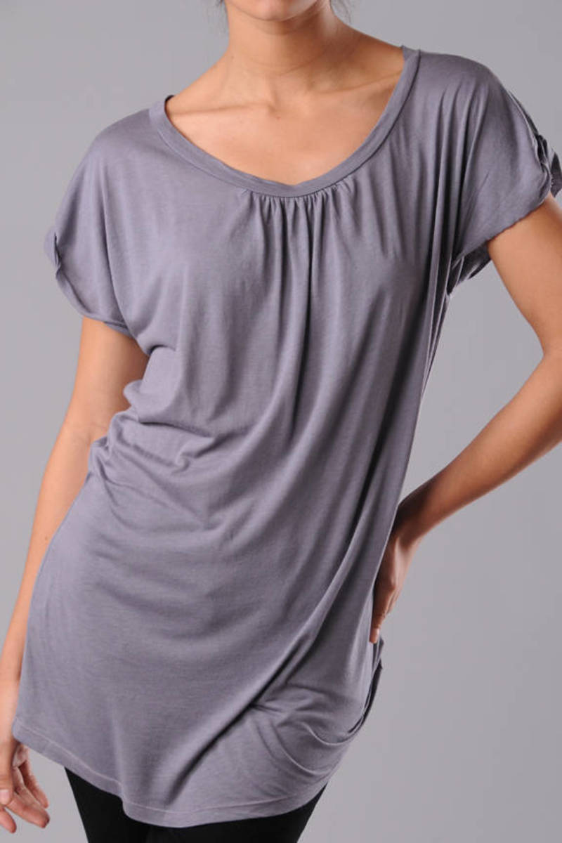 dd31245080ee1d Grey Ella Moss Tee - Oversized Shirt - Grey Ruched T Shirt -  40 ...