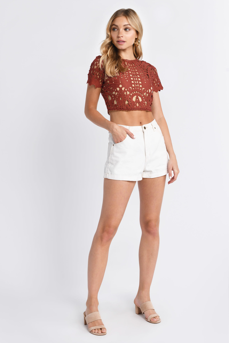 76a6ec639e9 Lovely Brown Crop Top - Crew Neck Shirt - Brown Lace Crop Top -  27 ...