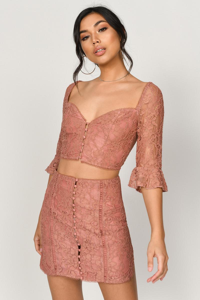 09b5834d9b Orange Mini Skirt - Lace Mini Skirt - Orange Button Up Skirt - $17 ...