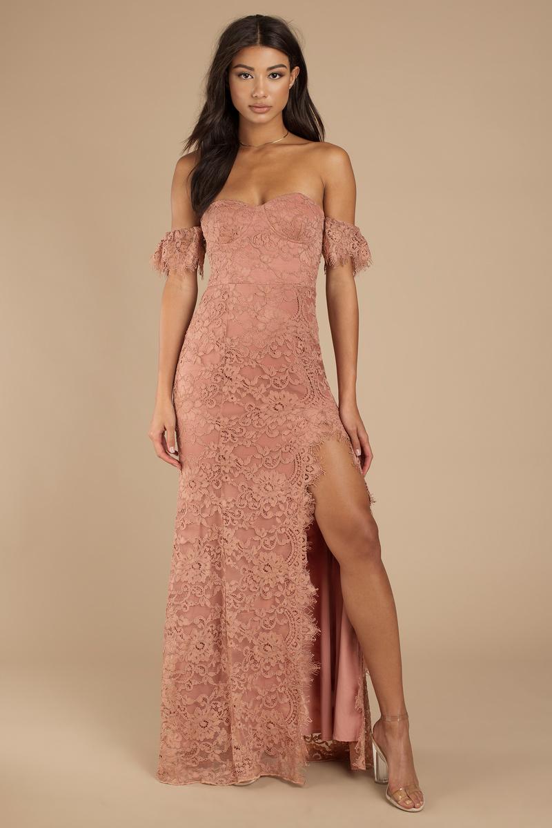 One Way Lace Slit Maxi Dress