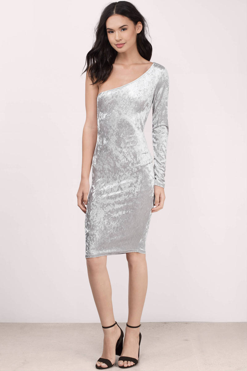 All For One Silver Metallic Velour Bodycon Dress