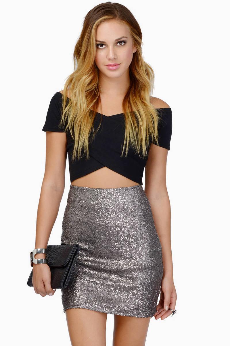 Trendy Black Skirt - Black Skirt - Sequin Skirt - $7.00