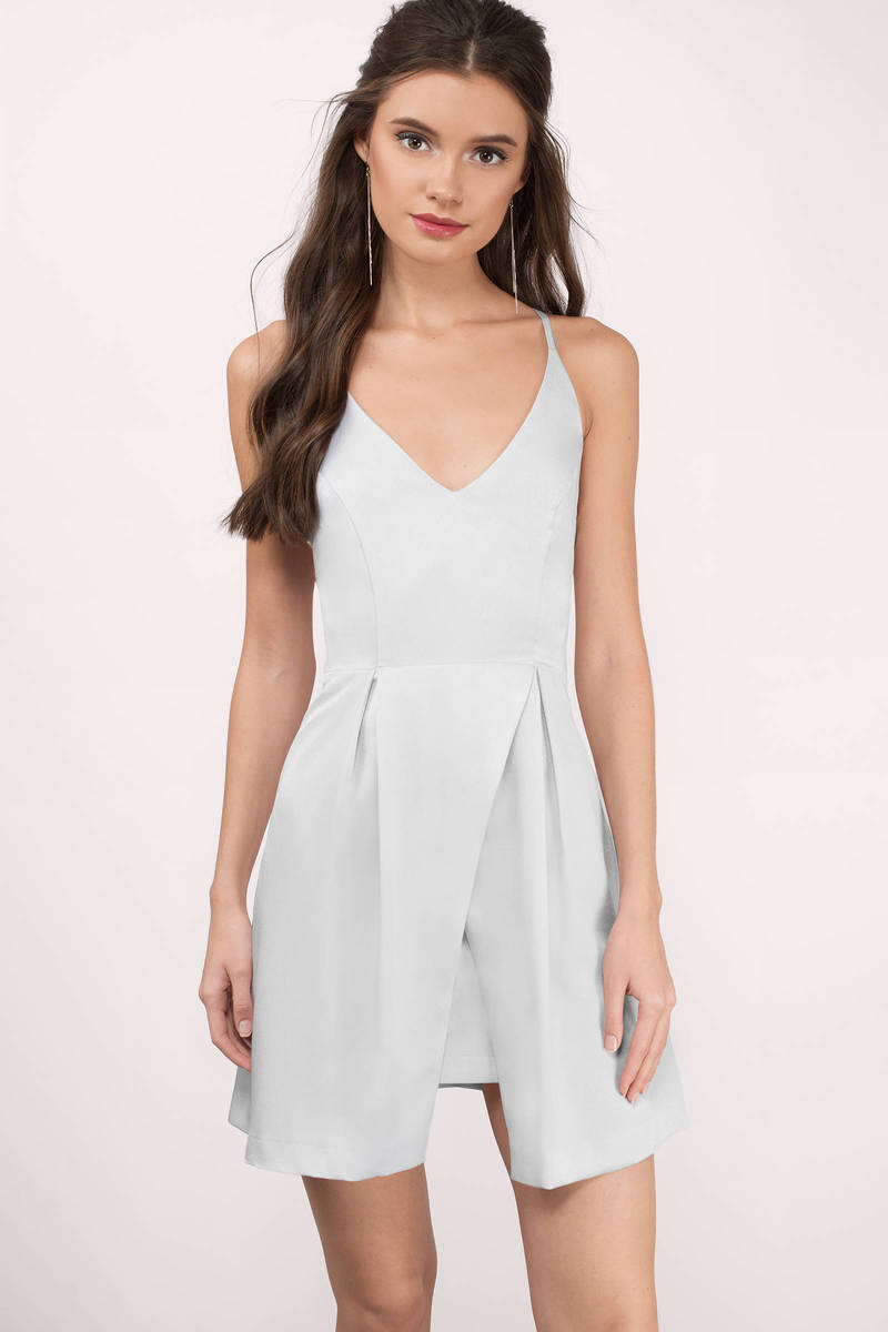 Cilla Silver Satin Skater Dress