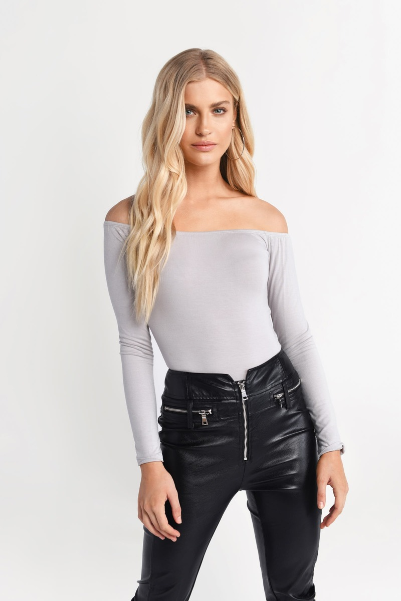 9dc7e24da50a Grey Bodysuit - Fitted Boho Bodysuit - Grey Bardot Bodysuit - $14 ...