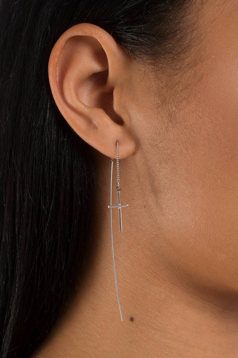 Cross The Line Silver Dangle Earrings