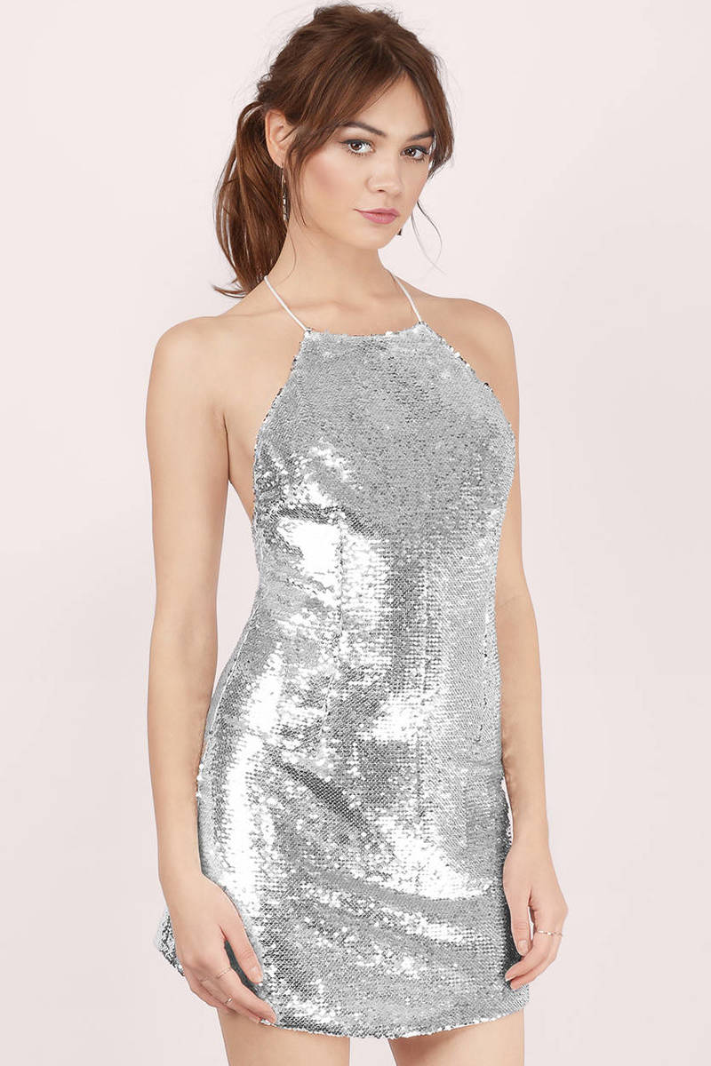 Don't Hold Back Silver Sequin Bodycon Dress