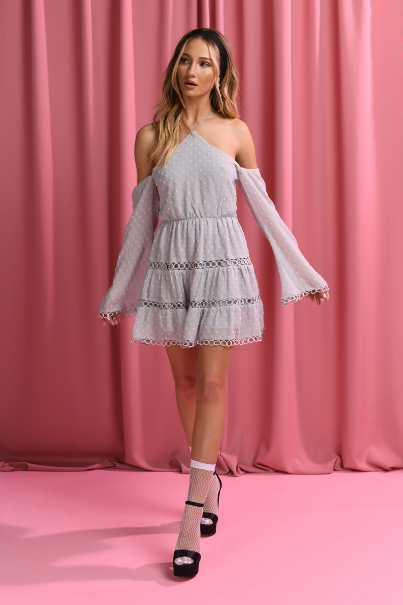 55c4c4b169 Grey Skater Dress - Halter Dress - Grey Polka Dot Dress -  39