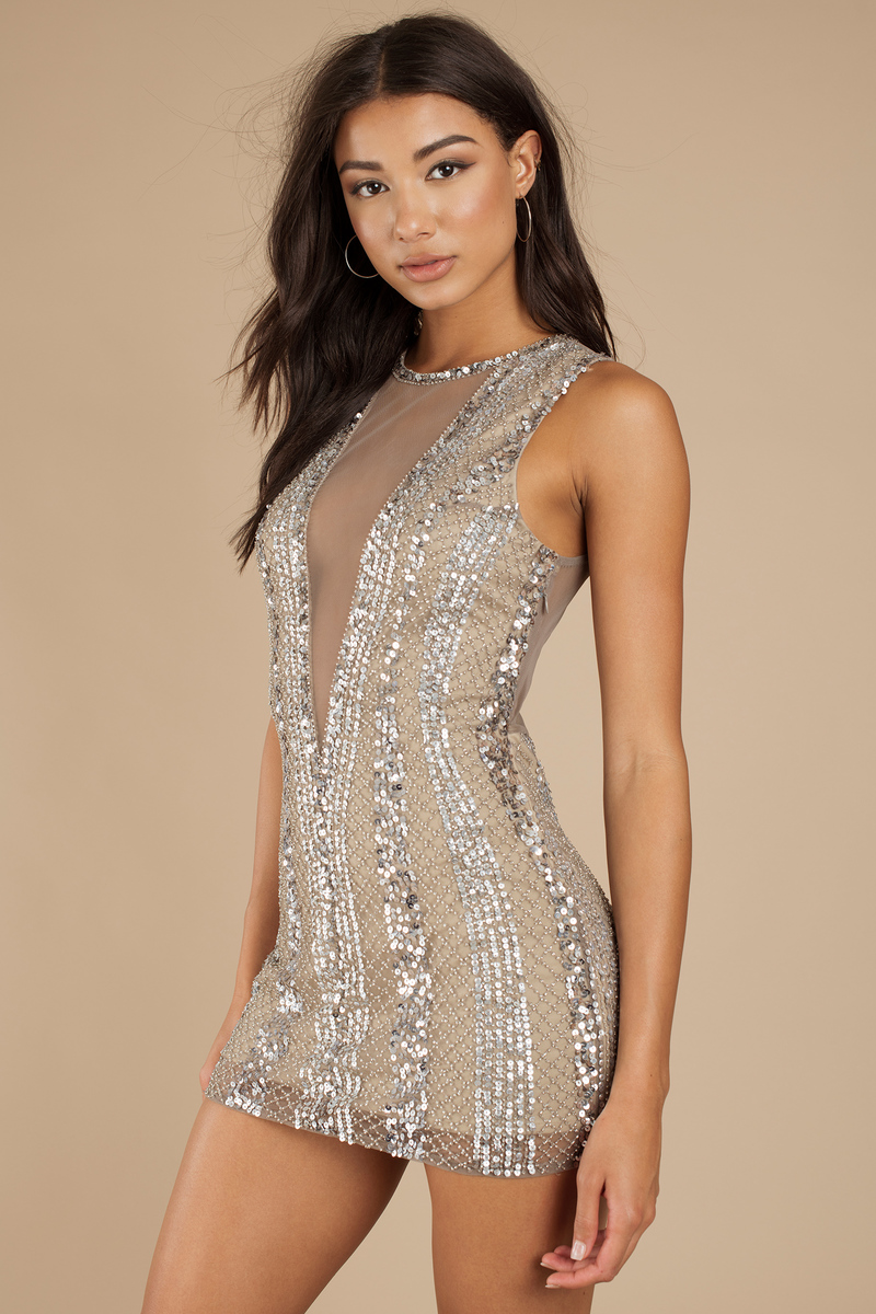 263ce662d84a Silver Bodycon Dress - Plunge Mesh Insert Dress - Silver Beaded ...