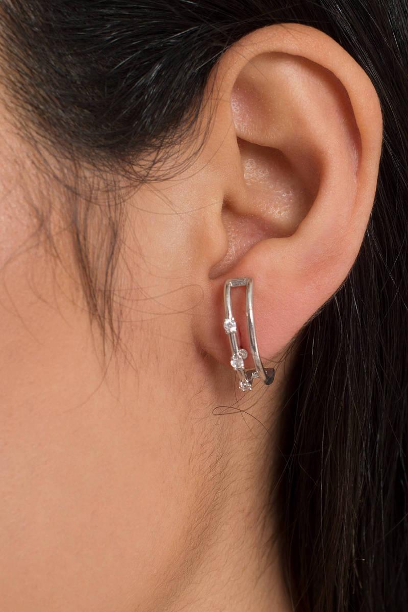 Glam Squad Silver Rhinestone Hoop Earrings