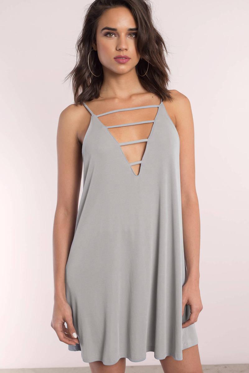 c445b4297daa Cute Silver Shift Dress - Strappy Dress - Silver Dress - Shift Dress ...