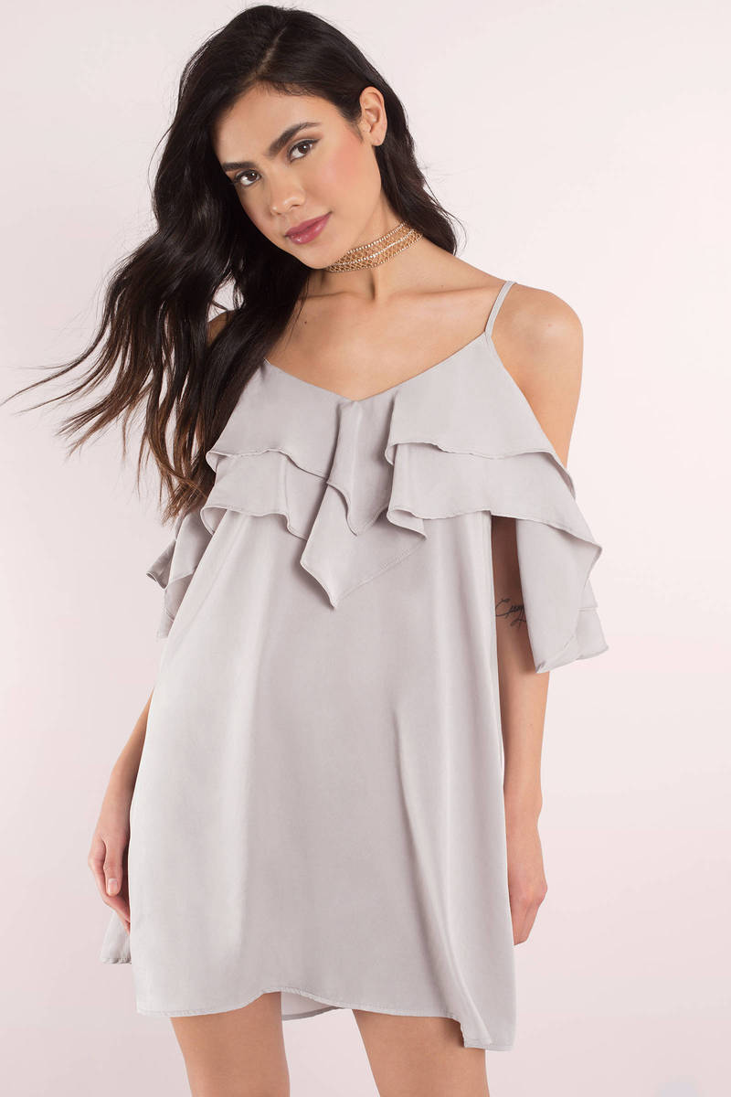 Cute Silver Shift Dress - Ruffled Dress - Silver Dress - $68.00