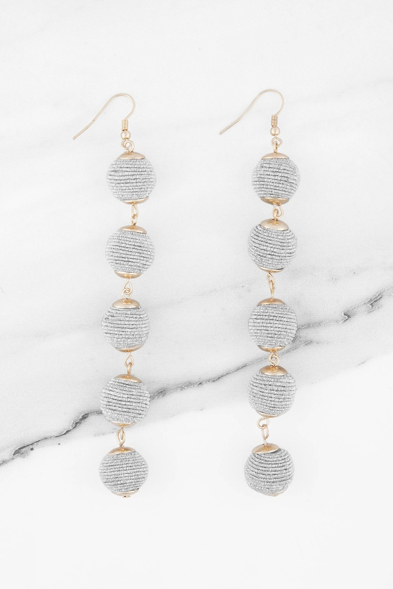 Lantern Silver Ball Drop Earrings