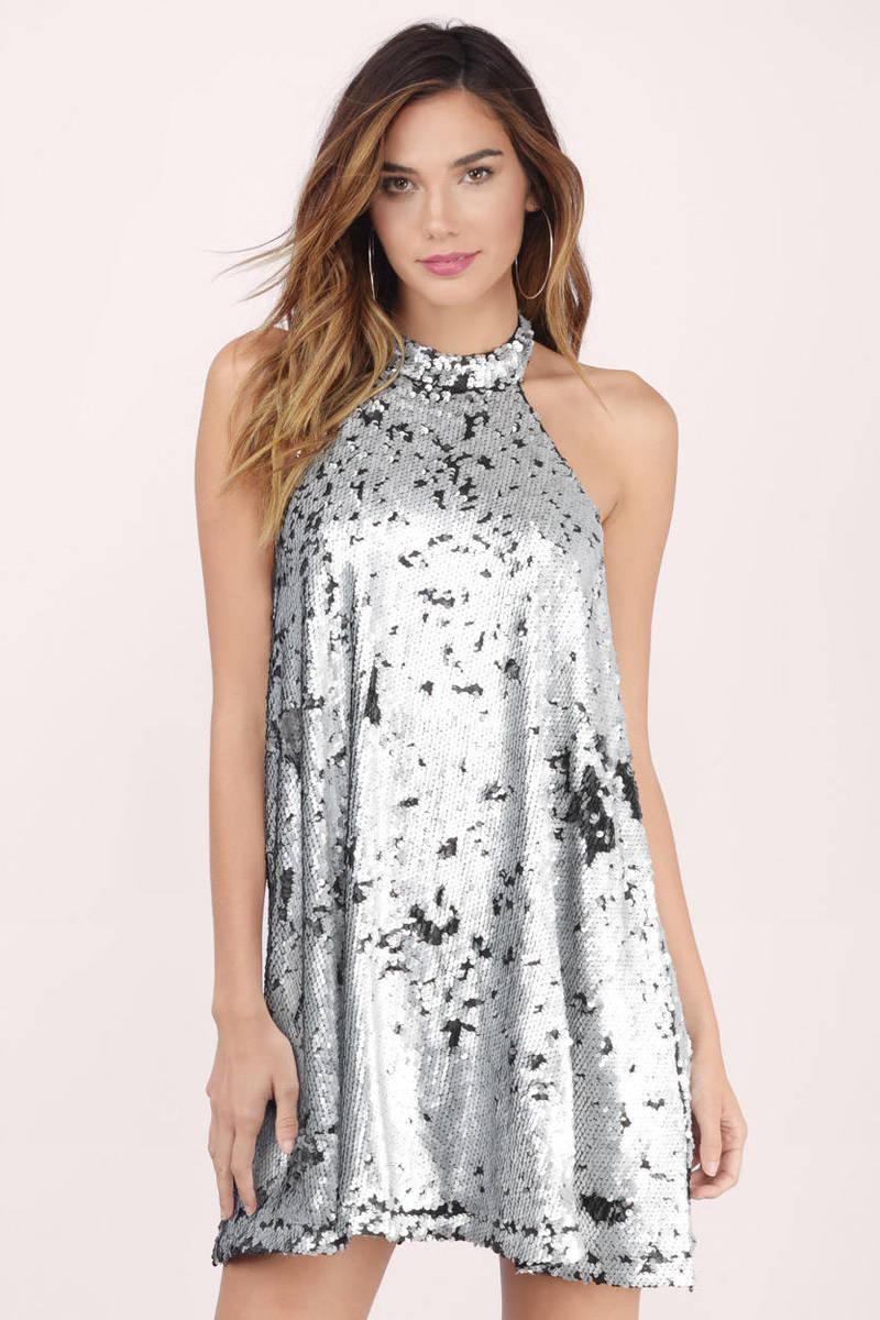Blue Dress - Sequin Dress - Sequin Trapeze Dress - Shift Dress - $14 | Tobi US