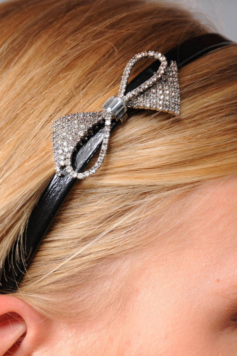 Juicy Couture Silver Rhinestone Bow Headband 0d25f647a29