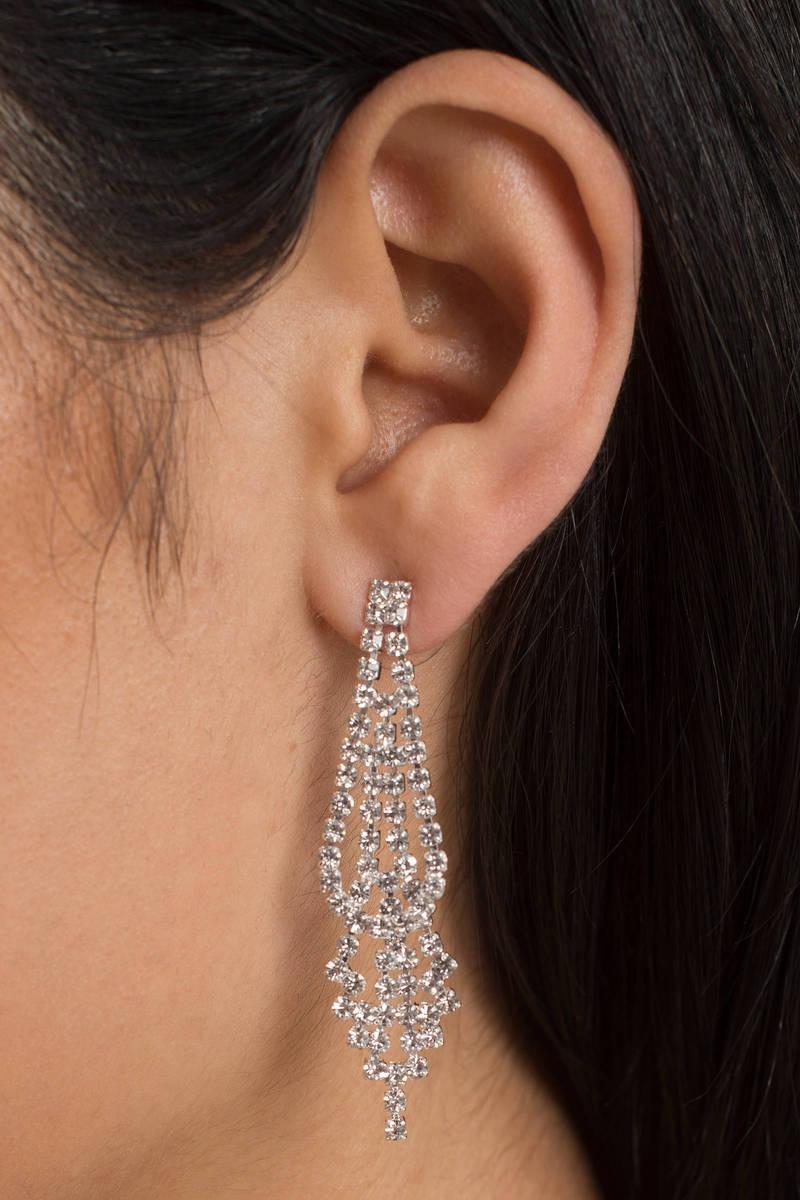 Roxy Silver Rhinestone Statement Earrings