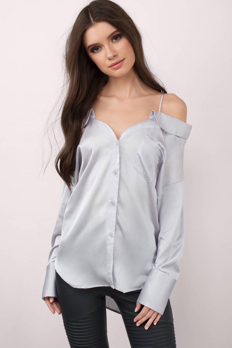 Scarlett Silver Satin Shirt