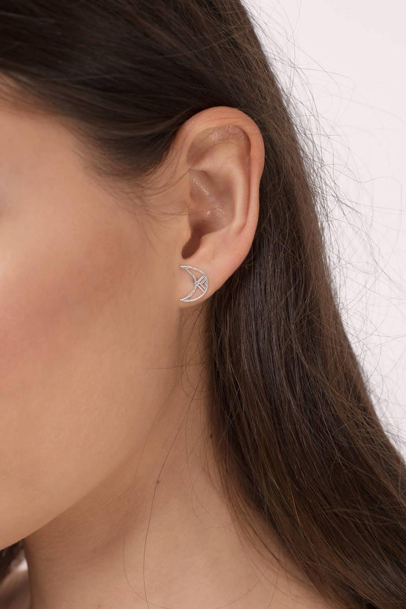 Shine Silver Bright Moon Earrings