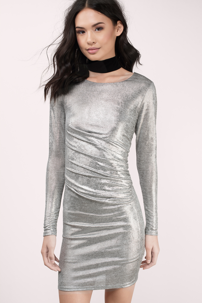 Shine On Silver Bodycon Dress