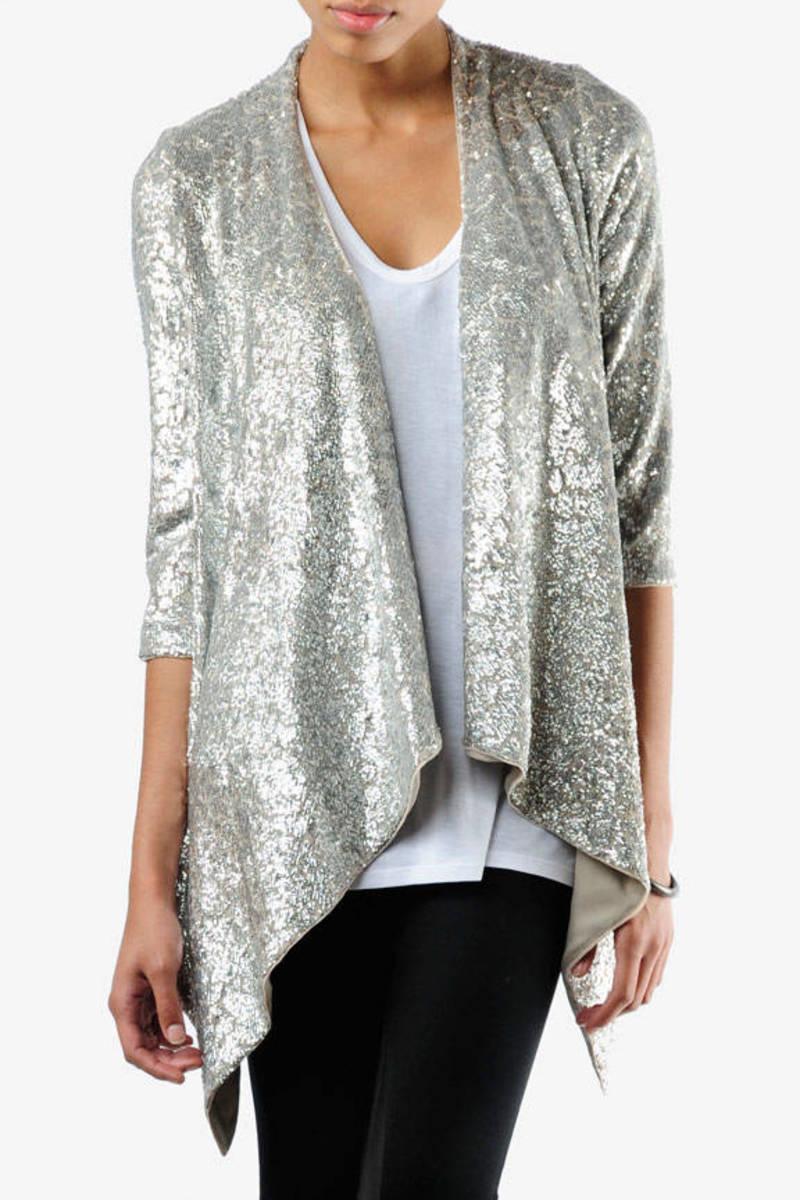 Silver Sequin Cardigan