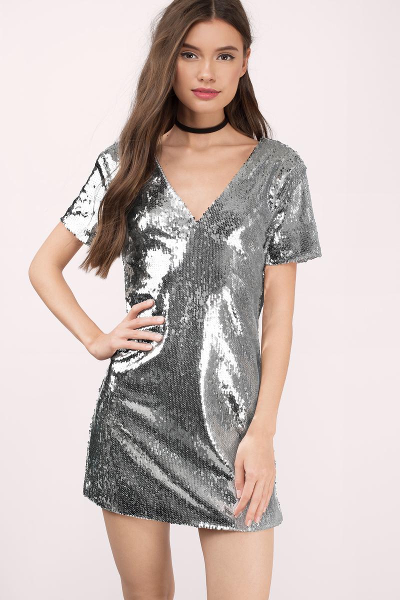 Sequin silver dresses rare photo