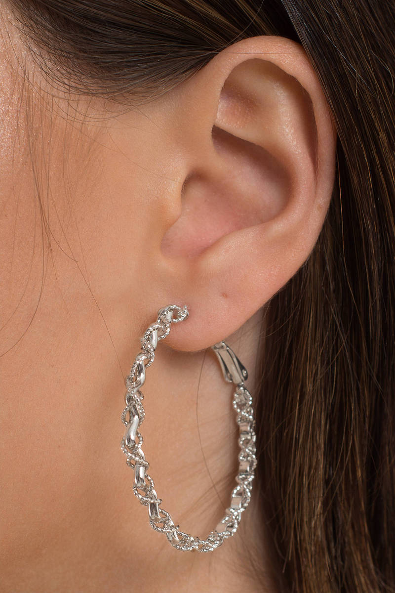 Swirl Me Around Silver Hoop Earrings