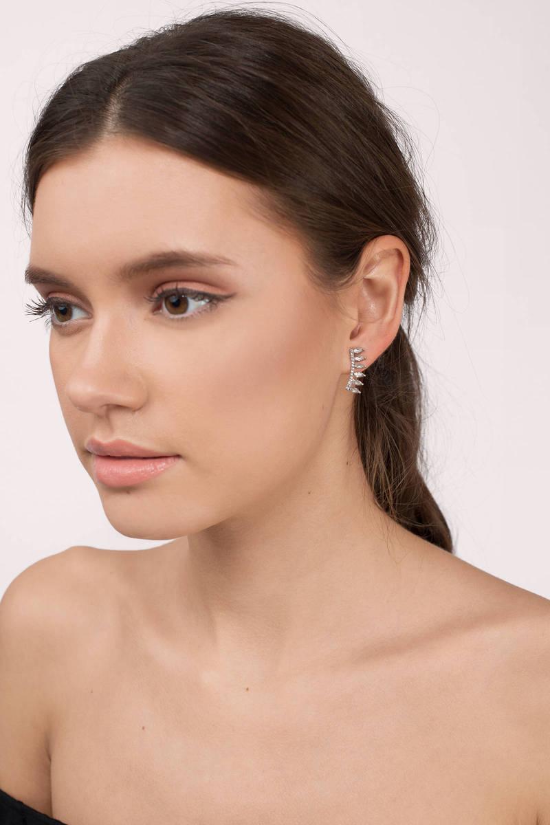 Times Untold Silver Rhinestone Earrings