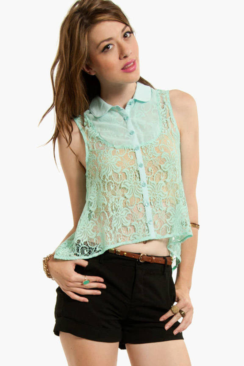 Button Down Laced Top
