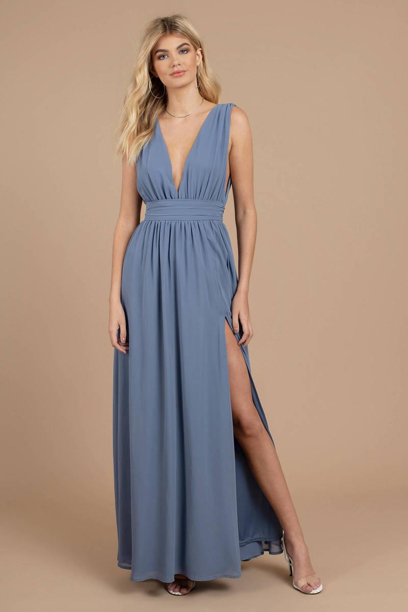 c9eae15bb64 Blue Maxi Dress - Wedding Guest Dress - Blue Bridesmaid Dress - Slit ...