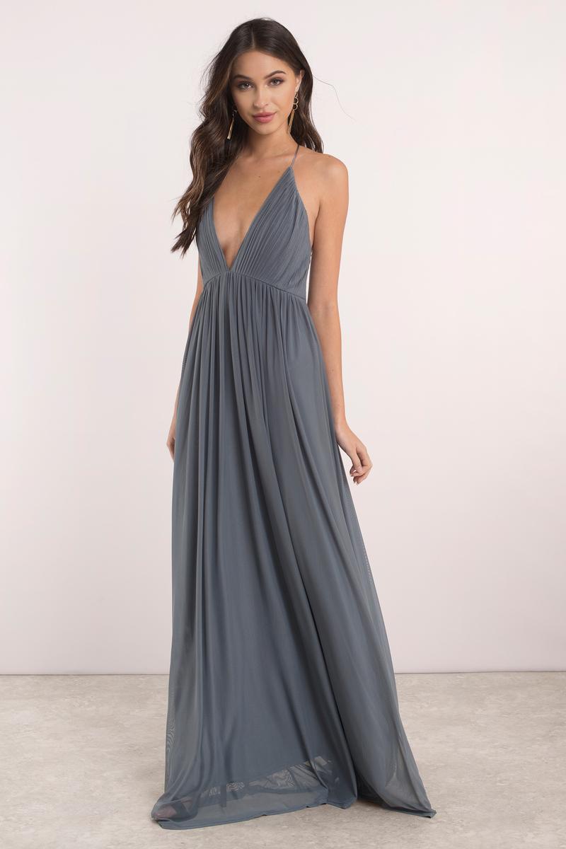 Slate Dress - Pleated Dress - Deep V Dress - Sweep Dress - Maxi ...